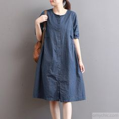 Elegant dark blue pure linen dresses plus size holiday dresses Fine short sleeve o neck cotton clothingMost of our dresses are made of cotton linen fabric, soft and breathy. loose dresses to make you comfortable all the time. Plus Size Holiday Dresses, Plus Size Dresses, Linen Dresses, Cotton Dresses, Arabic Bridal Mehndi Designs, Kids Frocks Design, Frock Design, Cotton Linen, Dark Blue