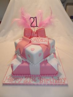21st Birthday Cake - 2 tiers gifts with bow #cavendishcakes