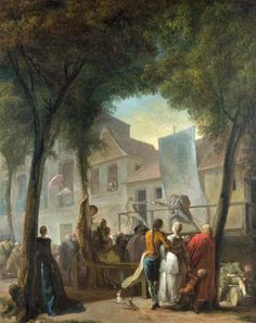 A Street Show in Paris  1760, Gabriel-Jacques de Saint-Aubin. Harlequin and Crispin are seen duelling on a simple stage. They are characters from the 'commedia dell'arte', a popular form of comic theatre that originated in Italy. Street theatre was popular in 18th-century Paris. The trees in this picture form a arch which makes the spectators as much a spectacle as the show itself. (c) The National Gallery