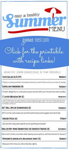This easy summer menu is healthy, carb conscious, and THM friendly. Click to get the printable with recipe links!