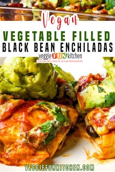 Packed with vegetables and black beans, spiced just right, and baked in a mild enchilada sauce. These easy to make, healthy, veggie-filled, black bean enchiladas will be a hit with your crowd! | Veggie Fun Kitchen @veggiefunkitchen #veganenchiladas #veganmexicanrecipes #vegetableenchiladas #healthyenchiladas #blackbeanenchiladas #veganmexicanfood #vegancomfortfood #veggiefunkitchen Vegan Mexican Recipes, Vegetarian Mexican, Vegan Dessert Recipes, Vegan Recipes Easy, Whole Food Recipes, Vegetarian Recipes, Vegan Meal Plans, Vegan Meal Prep, Summer Recipes