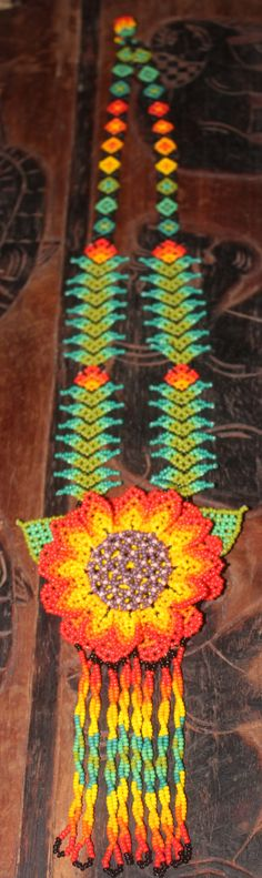 Huichol Peyote Beaded Necklace WW-Red by HuicholArte on Etsy