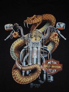 ORIGINAL! VTG 80s 3D EMBLEM HARLEY DAVIDSON SNAKE T SHIRT MOTORCYCLE BIKER