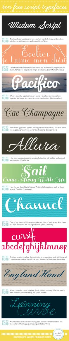 10 Free Script Typefaces--the Pelican Girls are ALWAYS looking for fabulous free fonts.