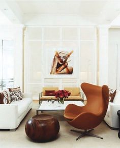 Love the Bert Stern photo of Marilyn paired with the Jacobsen Egg chair.