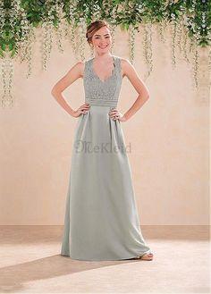V-Ausschnitt Satin A-Linie Natürliche Taille Brautjungfernkleid - Bild 1