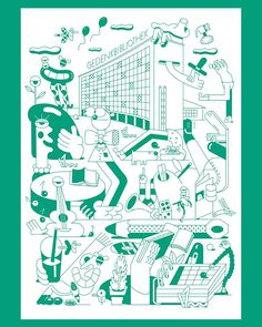 "Poster Illustration for the ""Zentrale Landesbibliothek Berlin""  ✌️AD by @state__________ ✌  ______________________  #illustration #illo #illustrator #sebastianschwamm #drawing #digital #digitalart #vector #vectorart #art #character #design #graphics #graphicdesign #wimmelbild #green #library #berlin #poster #comission #books #nature #family #kids #comicart #instaart #instadraw"