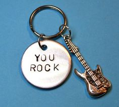 you rock keyring musicians gift musical accessories guitar charm