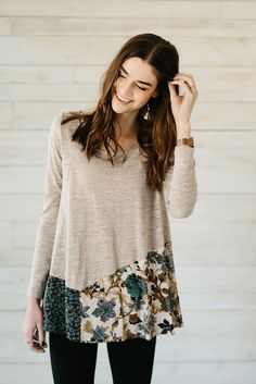 Floral Patchwork Tunic- Taupe