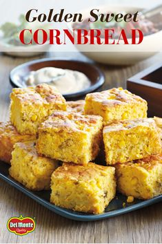 Golden Sweet Cornbread - Creamed corn and whole corn kernels bake up moist and sweet in this easy cornbread recipe using corn muffin mix – enjoy as muffins or squares with anything from chili to game day grub.