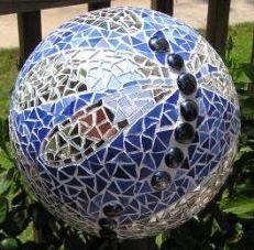 Mosaic Dragonfly bowling ball - chunksofglass.com