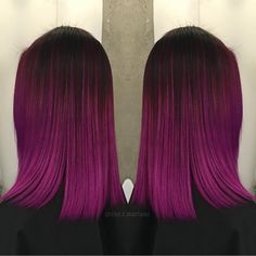 """Winter Pink Fuchsia Ombre hair color by @che.r.mariano The cut is fabulous too! #hotonbeauty"""