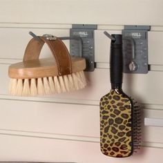 Brushes are always at hand and their bristles straight when hung on a hook.