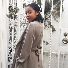 Nene wearing the Dylan Trench in Hampton Green. #AmericanApparel