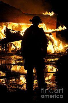 Fine Art Photograph of a Firefighter watching as a house burns out of control.  Firemen, Fireman, Firefighters, Dramatic Fire Photograph, Sense of Lose, Hero,