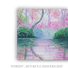 47 euro Enchanted Forest Acrylic Painting FREE SHIPPING World Tree of life Original Art Impressionist Contemporary emerald pink and green garden