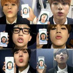 members trying to imitate one of  Jungkooks early pre-debut pictures