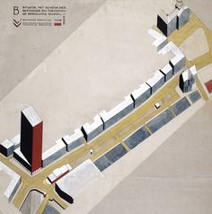 C. van Eesteren. Competition for the development of Rokin, Amsterdam, 1924. NAI Collection / EEST 8_49