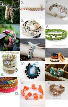 14 DIY BRACELET tutorials- great Gift ideas! plus ideas for necklaces and earrings