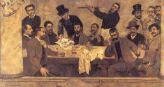 """Columbano Bordalo Pinheiro: """"O grupo do Leão"""". Ano: 1885. Local: Museu do Chiado (Lisboa)."""