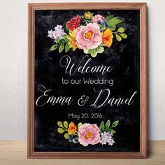 Chalkboard Wedding Sign Printable Wedding Welcome sign Custom Wedding Sign Welcome to our wedding  Rustic floral wedding sign printable