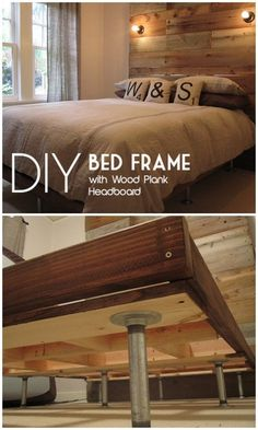 Check out the tutorial on how to make a #DIY bed frame with a giant wood plank headboard. Looks easy enough! #BedroomIdeas #HomeDecorIdeas @istandarddesign