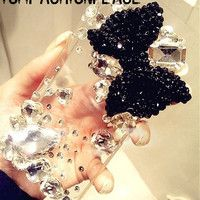 3D Bling rhinestone bow iphone 5s case iphone 5c case iphone 5 case iphone 4 4s case samsung galaxy s4 case s4 mini s2 s3 note 2 note 3 case