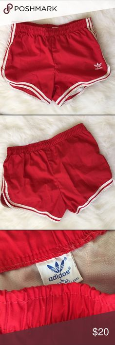 Large | Red Adidas Shorts Red vintage Adidas shorts in a size large. Perfect condition. Adidas Shorts