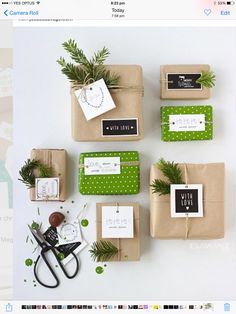 wrapping with kraft paper and greenery