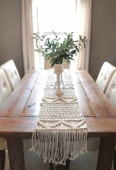 Macrame Wedding Runner Wedding Macrame Table Runner Rustic Etsy You are in the right place for moder Boho Wedding Decorations, Table Decorations, Table Centerpieces, Macrame Design, Macrame Art, Macrame Knots, Etsy Macrame, Macrame Mirror, Deco Table