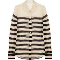 Equipment Sophie striped silk-chiffon shirt (235 BGN) ❤ liked on Polyvore featuring tops, blouses, shirts, blusas, long-sleeve shirt, peter pan collar shirts, see through shirt, sheer shirts and pink stripe shirt