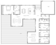 Modern House Plans, Small House Plans, House Floor Plans, Home Building Design, Building A House, House Design, Bungalows, Floor Plan Layout, Open Layout