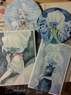 "sadynax: ""If you didn't know, I *ucking love drawing sapphire. These are little watercolor/ink works. +one OC on the left. """