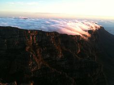 On the tablemountain at sunset, capetown South Africa