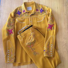 Vintage Western Suit Mustard Yellow Nudie Suit Flower Chain Stitching, Rhinestones, Snap Buttons and Smile Pockets by PioneerHouse on Etsy