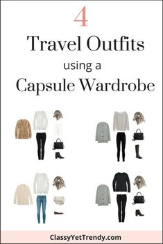4 travel outfits with capsule wardrobe – classy yet trendy – travel outfit plane long flights Capsule Wardrobe Mom, Capsule Outfits, Travel Wardrobe, Work Wardrobe, Business Travel Outfits, Business Wear, Air Travel Outfits, Classy Yet Trendy, Winter Travel Outfit