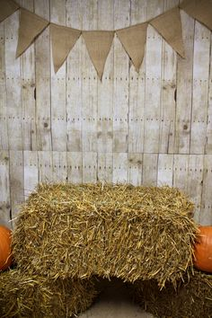 Photo booth background - bulletin board paper and burlap banner are from Hobby Lobby. The hay bales and pumpkins are local :)