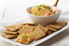 This easy-to-make Cheddar & Pimiento Spread goes great with crackers and is the perfect snack for Monday Night Football - or any night of the week! #recipe