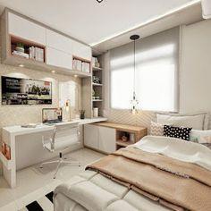 Más Chicos: 10 Dormitorios juveniles con escritorios para chicas Tiny Bedroom Design, Small Master Bedroom, Small Room Design, Home Room Design, Modern Bedroom, Contemporary Bedroom, Small Bedrooms, Modern Teen Bedrooms, Teenage Bedrooms