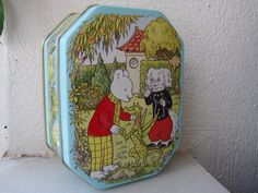 Beautiful,Rupert The Bear-Ping Pong sweet tin. 20 year old tin.Made by Bentley's of England in Measures x 3 x 1 h. 1970s Childhood, Childhood Toys, Childhood Memories, Vintage Tins, Vintage Books, Paddington Bear, Holly Hobbie, Box Signs, Tin Boxes