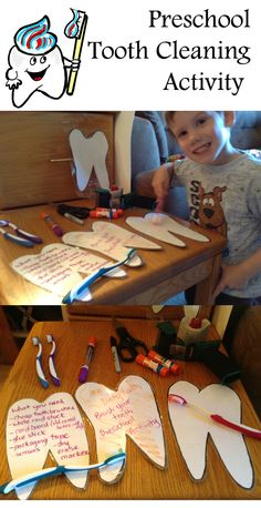 Cut out teeth and outline them in black marker on the cardstock. Glue cardstock down to cardboard for better thickness and durability. Cover the teeth in packaging tape. Draw dirty teeth with the dry erase markers and let the kids brush the teeth clean. And they can put them away and do this yearly for their unit on hygiene!