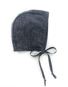 Briar Organic Bonnet In Railroad Stripe from Noble Carriage