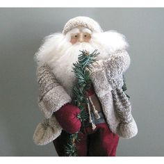 "Santa Claus Doll 24"" Santa Decoration Santa Decor Father Christmas... ($260) via Polyvore featuring home, home decor, holiday decorations, farmhouse home decor, country figurines, doll figurines, santa figure and country home accessories"
