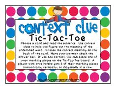 Classroom Freebies: Context Clues Tic-Tac-Toe Game - practice using context clues to figure out word meaning. Reading Lessons, Reading Strategies, Reading Skills, Teaching Reading, Reading Comprehension, Guided Reading, Teaching Ideas, Reading Games, Reading Activities