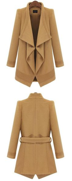The Camel Lapel Long Sleeve Belt Woolen Coat from SheIn is durable and work-friendly for any type of cold weather!