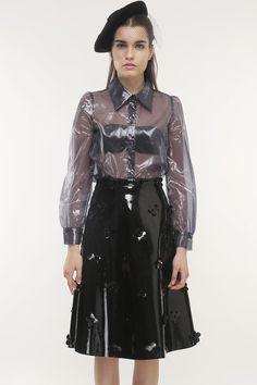 Flower Power Patent Skirt (Black) #Storets #MidiSkirt #FullSkirt