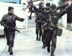 British Royal Marines surrender to an Argentine naval commando, Port Stanley, Falklands, 1982 ×