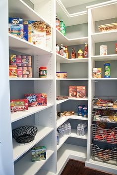 PANTRY: with L corner shelves and kid-accesible drawers for snacks, floor to