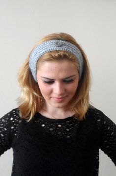gray knitted headband  buttons gray hair bands knit headband