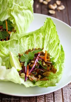 Thai Chicken Peanut Lettuce Tacos-Not your ordinary tacos – these chicken tacos are spicy and exotic, made with my light peanut...